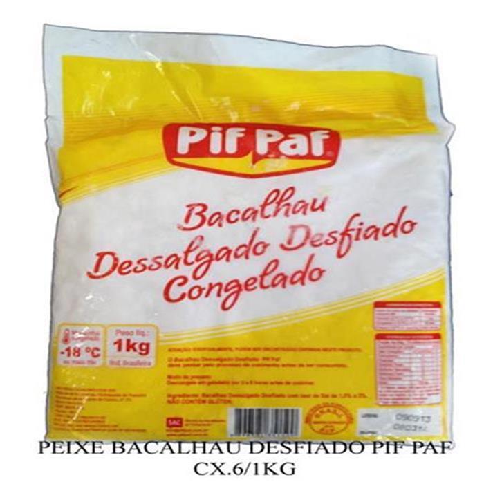 PEIXE BACALHAU DESFIADO PIF PAF CX.6/1KG