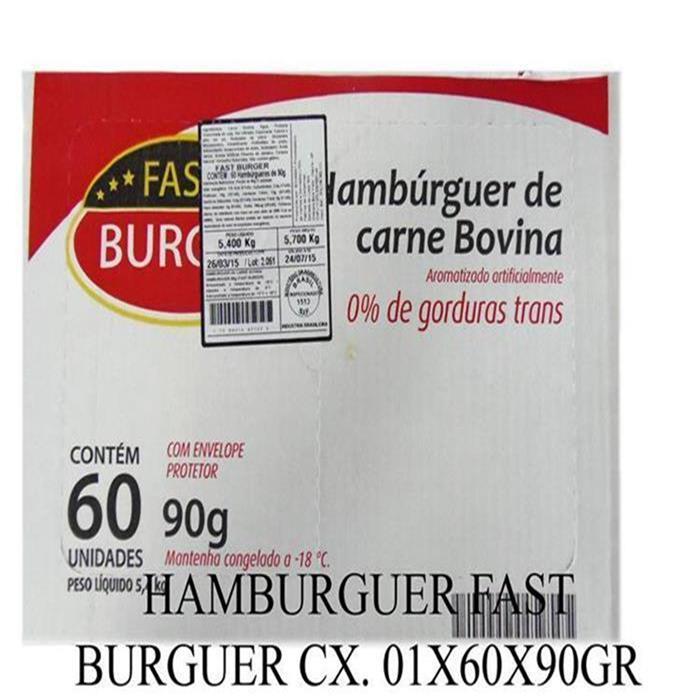 HAMBURGUER FAST BURGUER CX. 01X60X90GR
