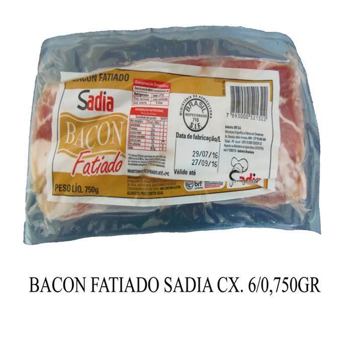 BACON FATIADO SADIA CX. 6/0,750GR