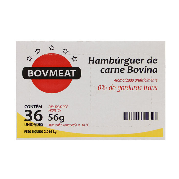 HAMBURGUER BOVMEAT CX. 01X36X56GR