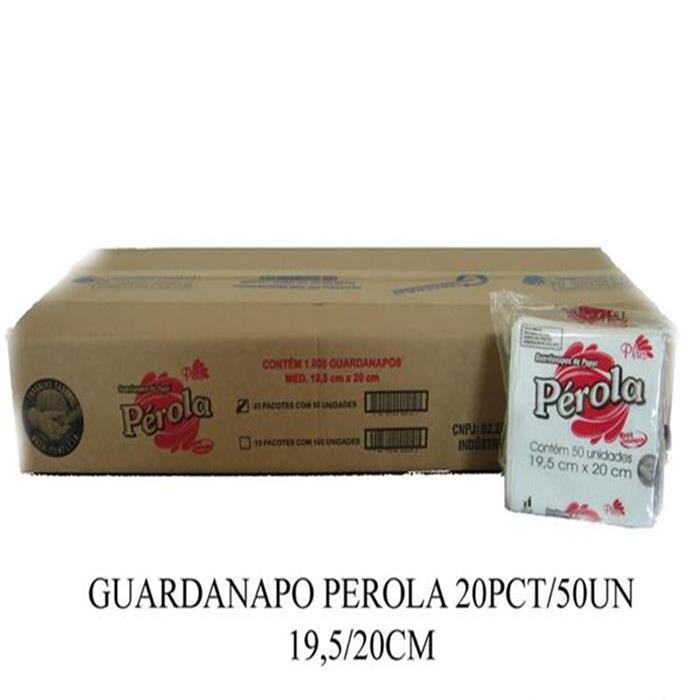 GUARDANAPO PEROLA 20PCT/50UN 19,5/20CM