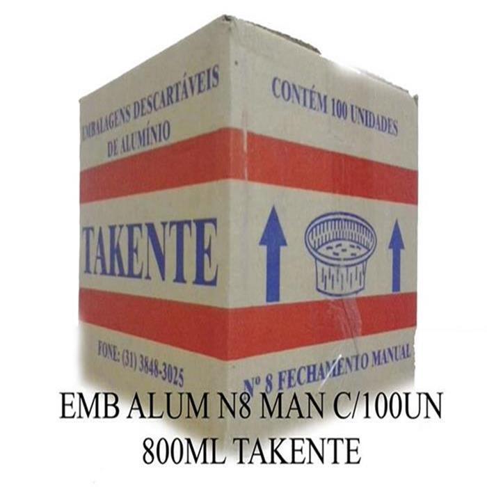 EMB ALUM N8 MAN C/100UN 800ML TAKENTE