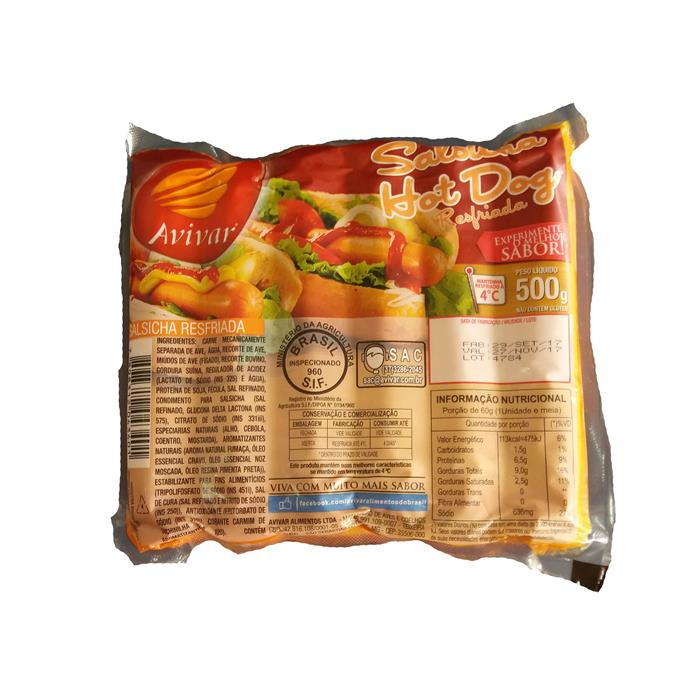 SALSICHA RESF HOT DOG AVIVAR CX 12/500GR