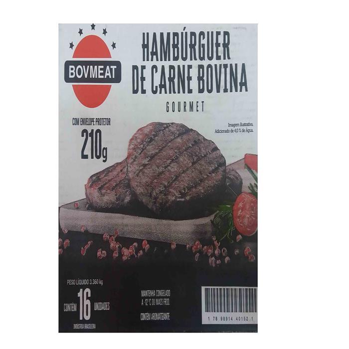 HAMBURGUER BOVMEAT GOURMET CX.01/16X210G
