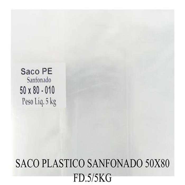 SACO PLASTICO SANFONADO 50X80 FD.5KG