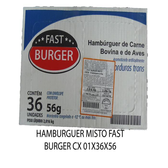 HAMBURGUER MISTO FAST BURGER CX 01X36X56